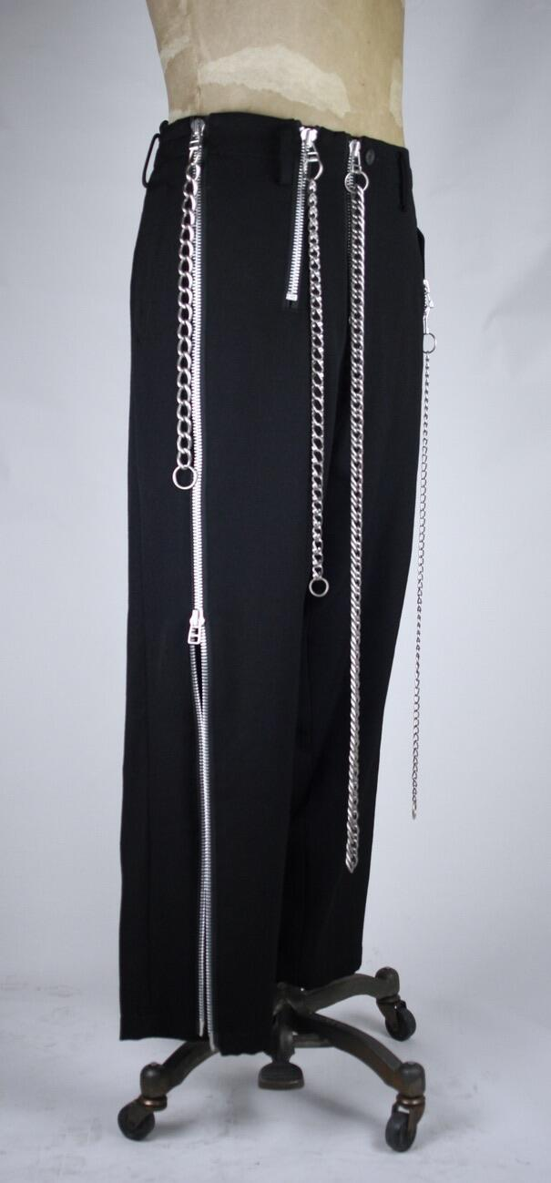 Trousers Black Wool Gabardine with Chain
